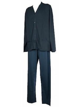 Pigiama lungo aperto uomo pajamas CONQUISTA art. 4502 taglia 60/5XL col. 126 BLU