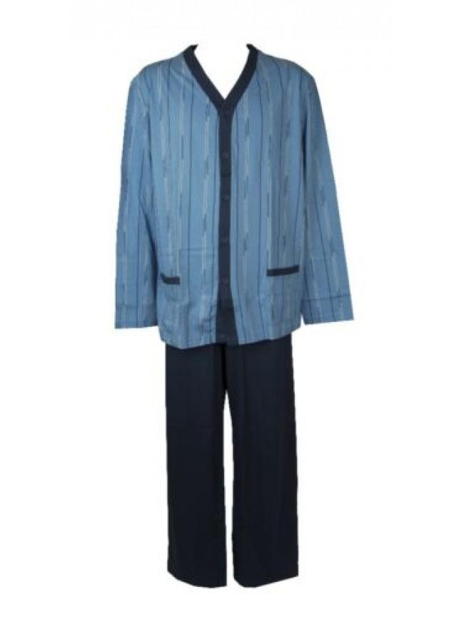 Pigiama uomo cotone jersey estivo manica lunga aperto con bottoni e tasche scoll