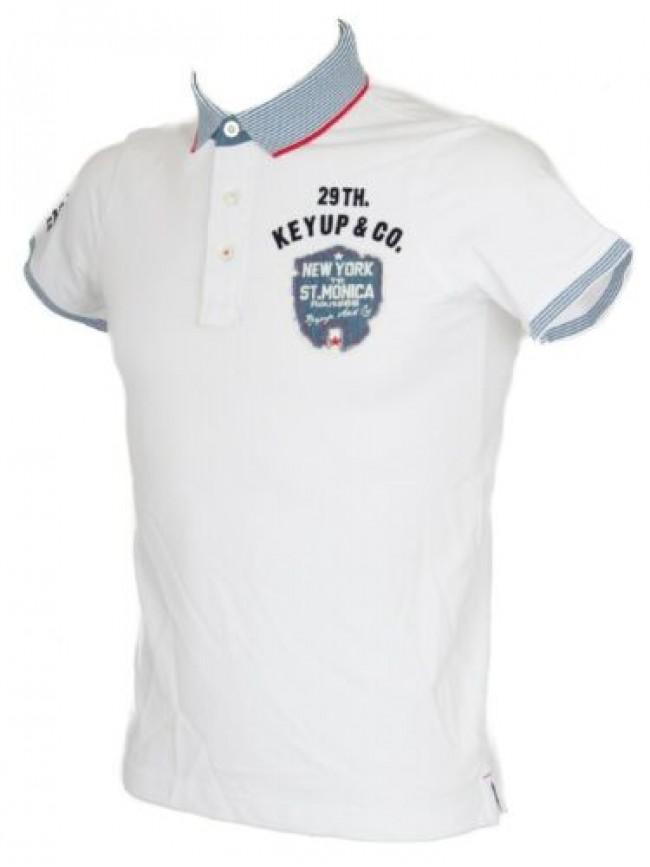 Polo uomo manica corta t-shirt colletto bottoni cotone KEY-UP articolo 2725Q