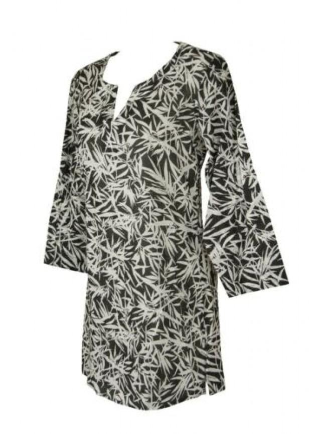 SG Abito donna mare vestito manica 3/4 kaftan copricostume spiaggia beachwear EM