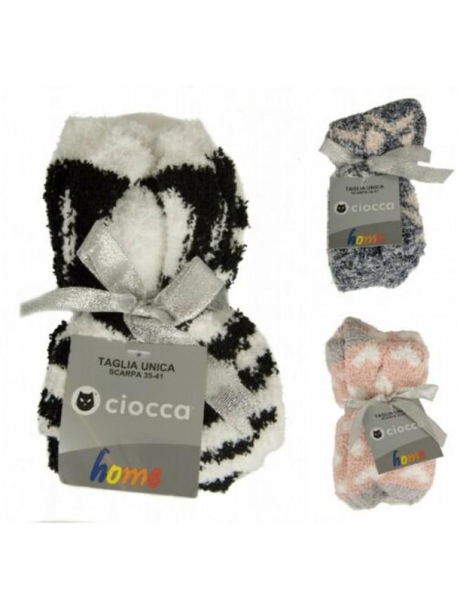 SG Bipack calza confezione 2 paia calzini donna in ciniglia idea regalo CIOCCA a