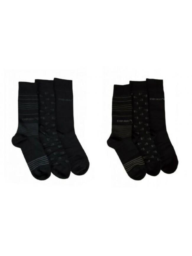 SG Confezione scatola set 3 paia calze corte calzini bassi uomo tripack EMPORIO