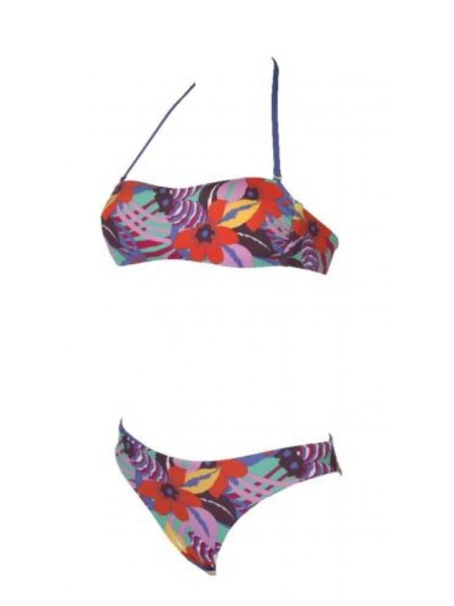SG Costume bikini donna mare fascia imbottita lacci removibili slip reversibile