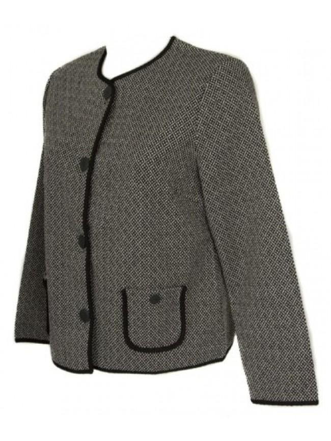 SG Giacca manica lunga con bottoni donna giacchina in jaquard con tasche RAGNO a
