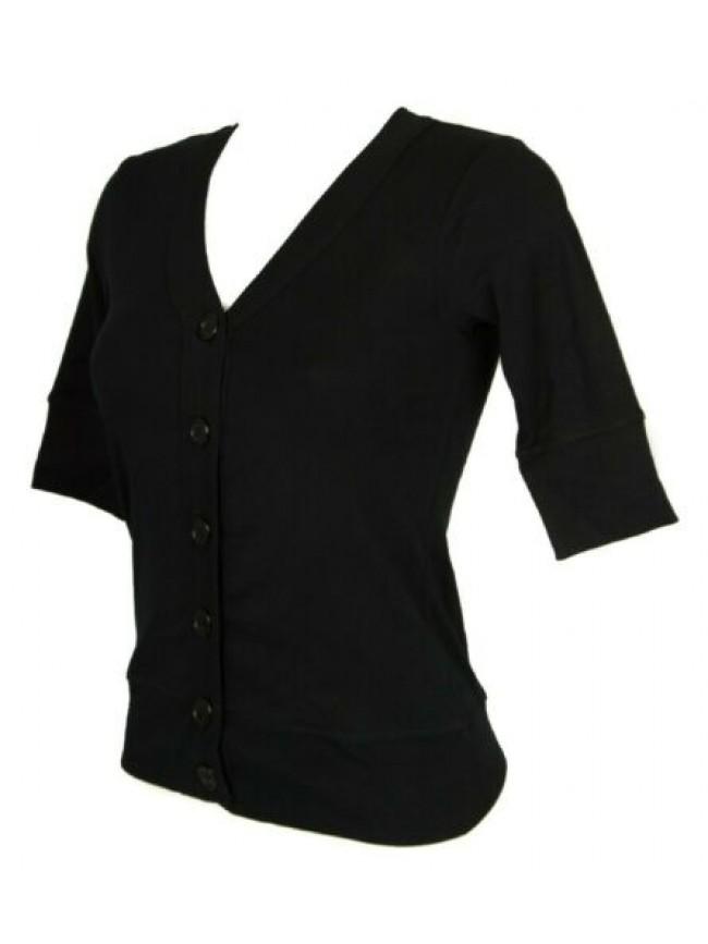 SG Maglia aperta con bottoni donna manica 3/4 maglia cardigan scollo a V cotone