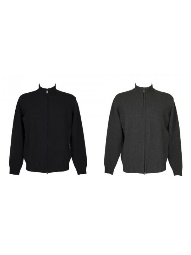 SG Maglia pullover blusotto uomo manica lunga aperta full zip pura lana merino e