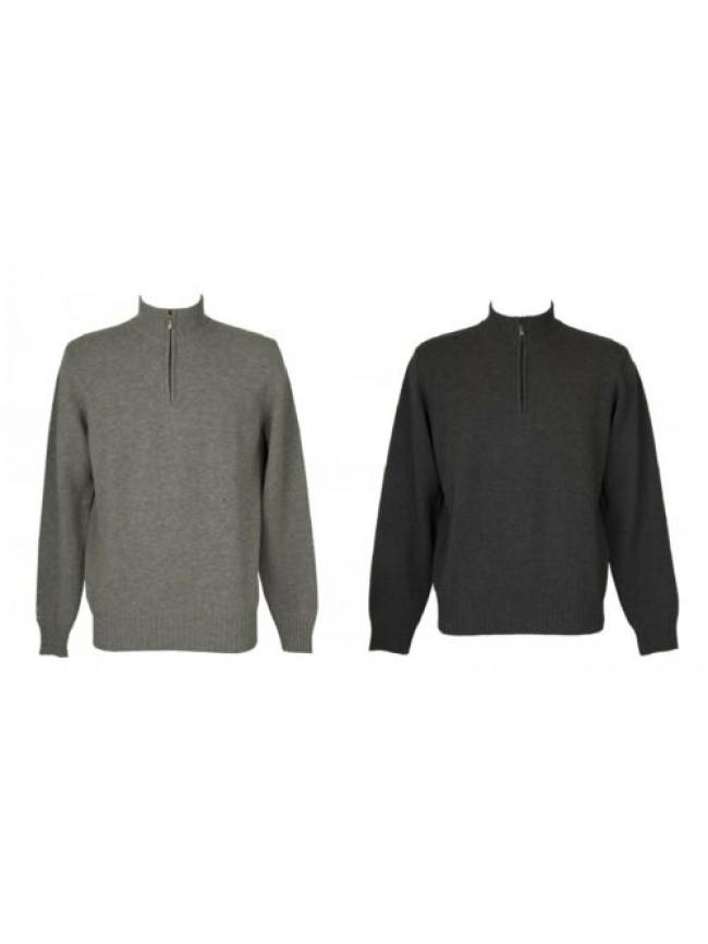SG Maglia pullover uomo manica lunga serafino mezza zip pura lana merino extrafi