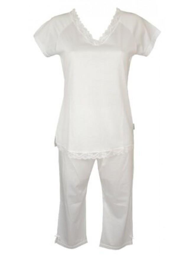 SG Pigiama donna cotone con pizzo scollo V manica corta pantalone pinocchietto R