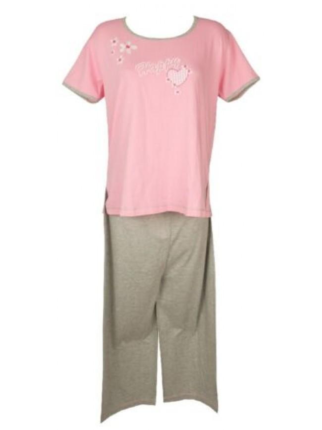 SG Pigiama donna cotone girocollo manica corta pantalone pinocchietto RAGNO arti