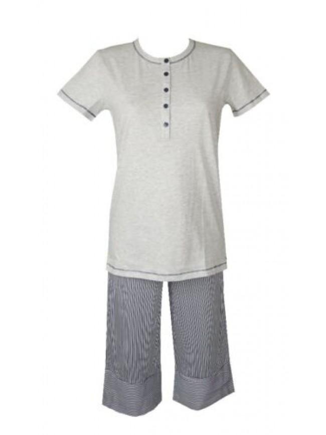 SG Pigiama donna cotone manica corta pantalone pinochietto collo serafino RAGNO