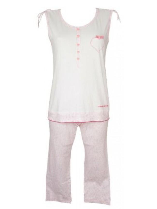 SG Pigiama donna cotone spalla larga smanicato canotta pantalone pinocchietto RA