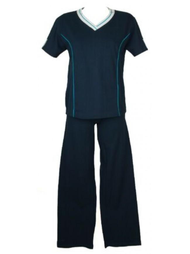 SG Pigiama donna manica corta pantalone lungo scollo V cotone RAGNO SPORT artico