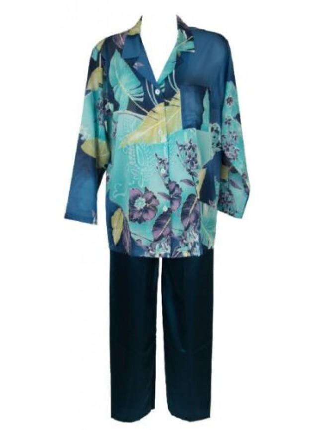 SG Pigiama donna manica lunga pantalone lungo aperto con bottoni TRE FIORI artic