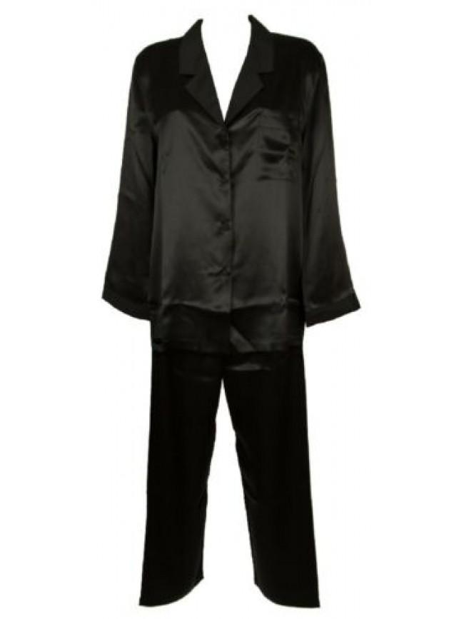SG Pigiama donna manica lunga pantalone lungo aperto con bottoni in pura seta PA