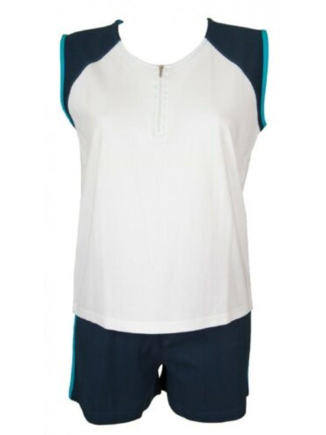 SG Pigiama donna smanicato pantalone corto girocollo con zip cotone RAGNO SPORT