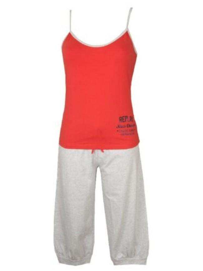 SG Pigiama donna top con laccini pantalone pinocchietto cotone REPLAY articolo W