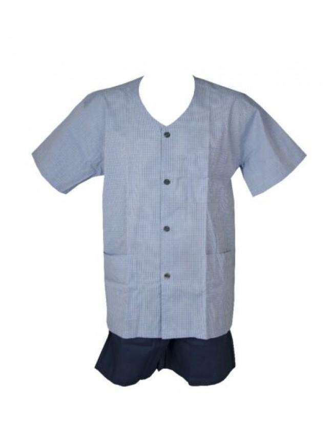 SG Pigiama uomo aperto in tessuto mezza manica pantalone corto scollo v con tasc