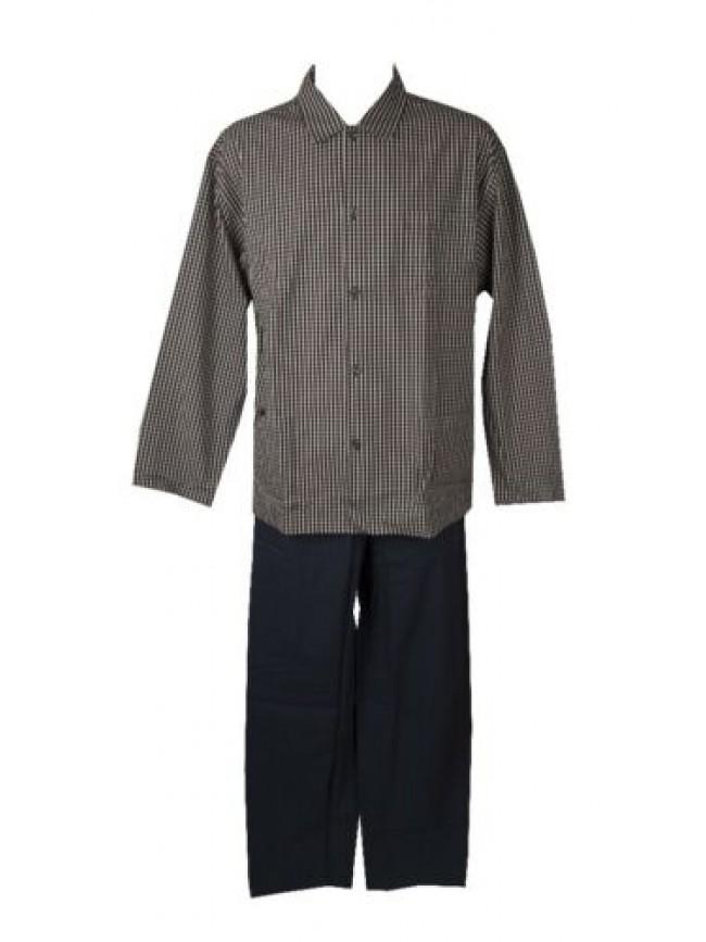 SG Pigiama uomo cotone estivo tessuto manica lunga aperto con bottoni e colletto