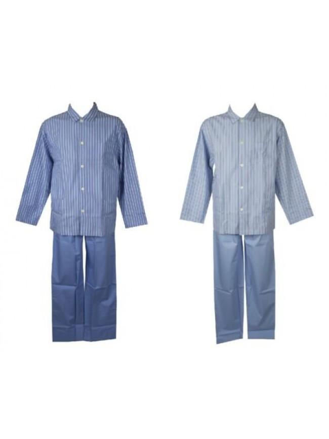 SG Pigiama uomo cotone estivo tessuto manica lunga aperto con bottoni tasche e c