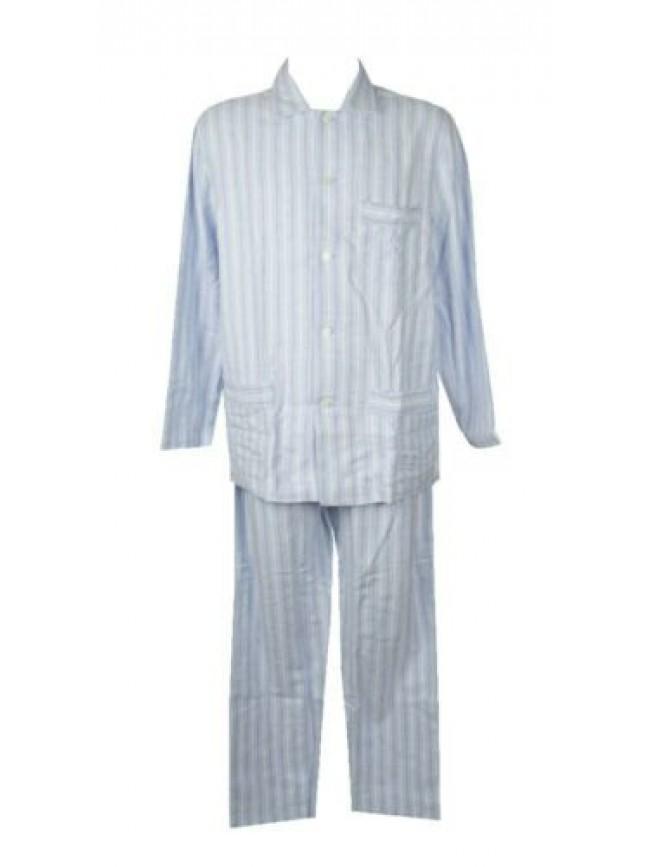 SG Pigiama uomo manica lunga pantalone lungo aperto con bottoni cotone interlock