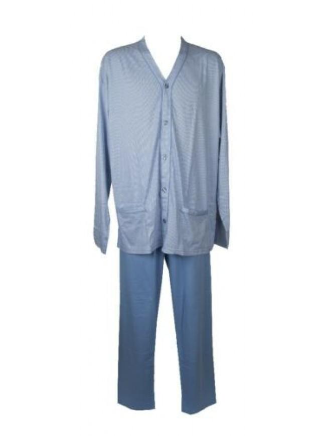 SG Pigiama uomo manica lunga pantalone lungo aperto con bottoni cotone pettinato