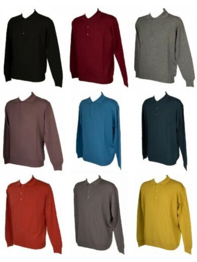 SG Polo uomo con bottoni maglia manica lunga misto lana RAGNO SPORT articolo A64