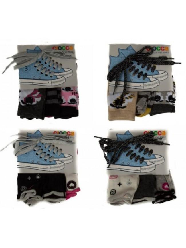 SG Set 3 paia calze calzini femmina ragazza con lacci scarpe CIOCCA articolo 837