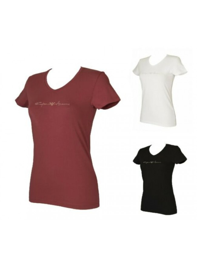 SG T-shirt donna manica corta scollo v maglietta elasticizzata EMPORIO ARMANI ar
