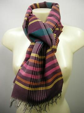 Sciarpa scarf SWEET YEARS art.JC3669 colore 6 vinaccia wine righe Italy