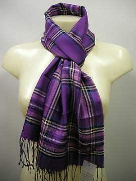 Sciarpa scarf unisex PIERRE CARDIN a.L1382 P001 c.4 viola purple scozzese Italy