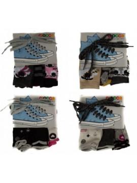 Set 3 paia calze calzini femmina ragazza con lacci scarpe CIOCCA articolo 837/X
