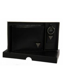 Set portafoglio portachiavi uomo GUESS art. SM4101 cm. 13x10 colore NERO BLACK
