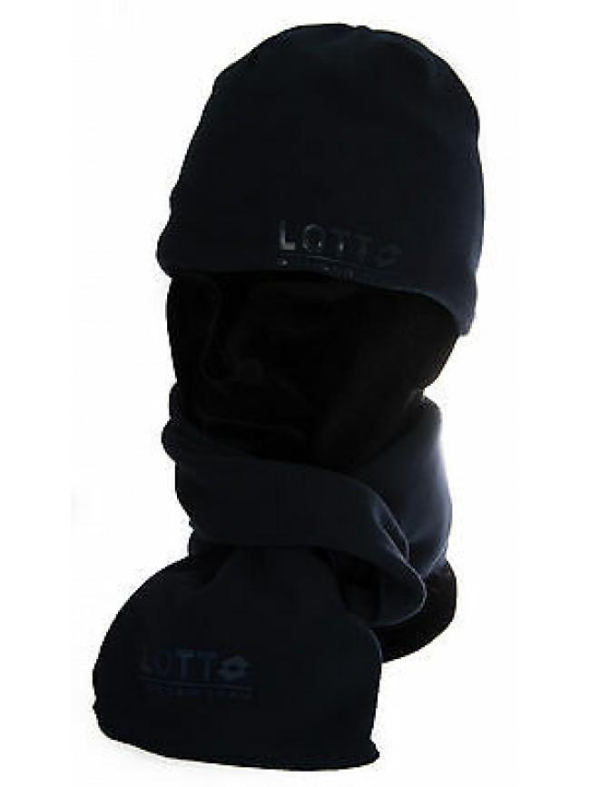 Set sciarpa e cappello pile uomo regalo scarf hat LOTTO art. N4214 colore NAVY