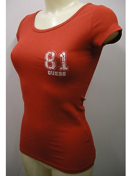 T-SHIRT MAGLIETTA DONNA WOMAN GUESS ART.UE3029 JER31 T.S COL.U816 ROSSO RED