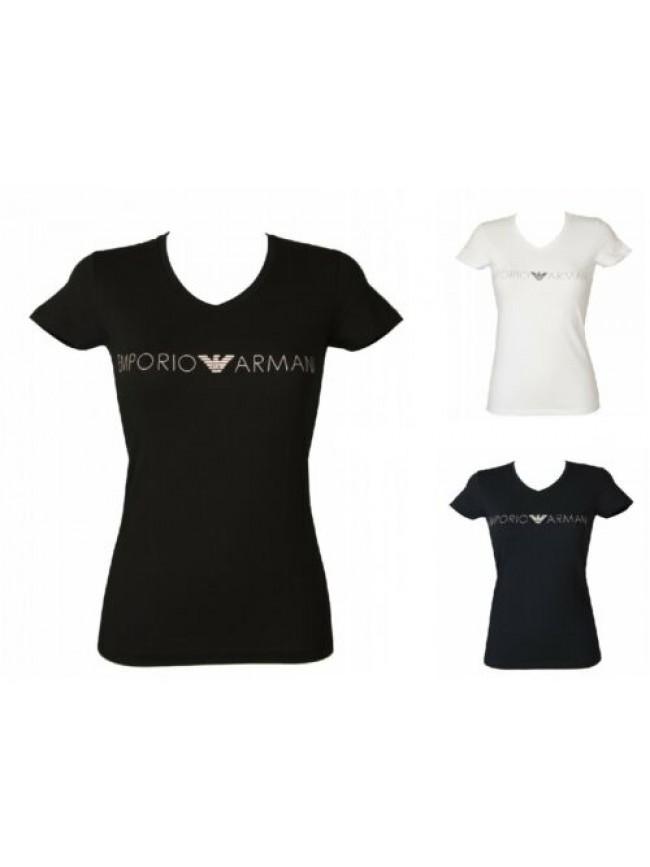T-shirt donna manica corta scollo v maglietta elasticizzata EMPORIO ARMANI artic