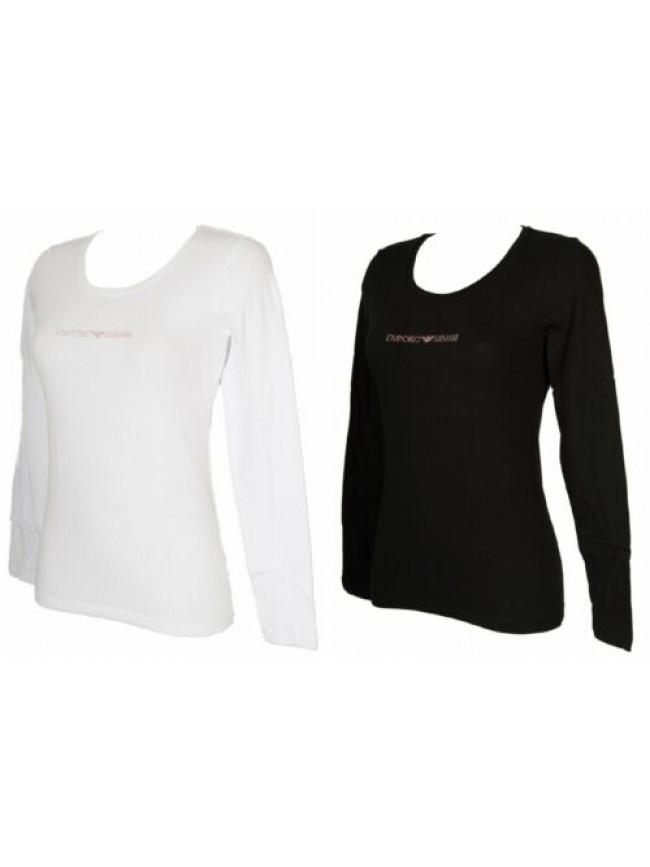 T-shirt donna manica lunga scollo a U maglia EMPORIO ARMANI articolo 163378 9A26