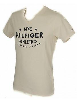 T-shirt maglietta V uomo TOMMY HILFIGER a. 2S87905126 taglia XL col. 185 EGGNOG