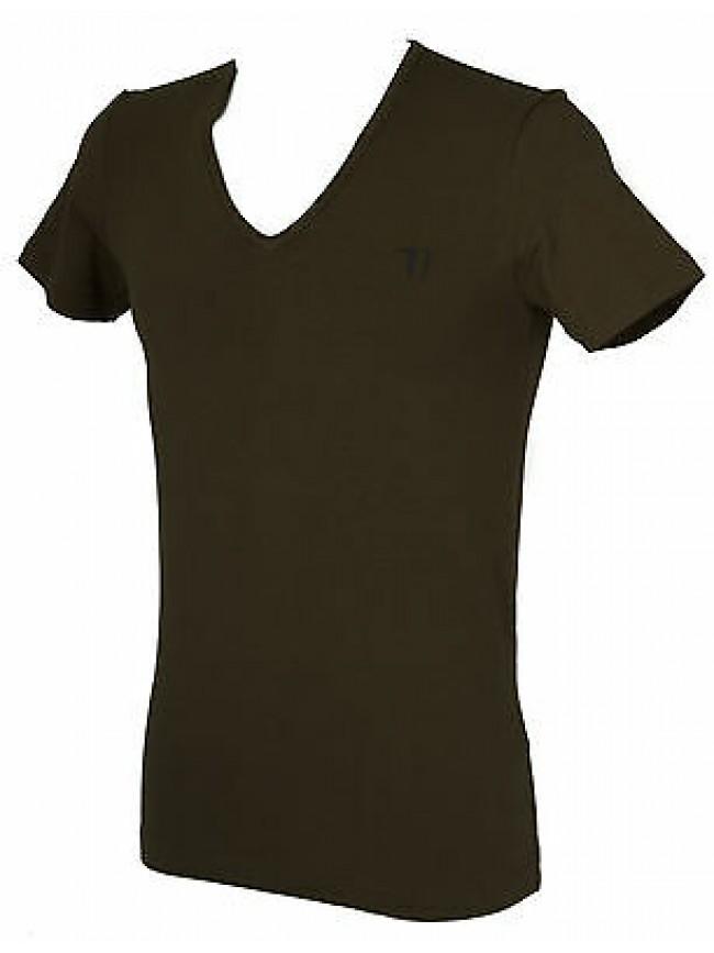 T-shirt maglietta V uomo TRUSSARDI JEANS art. TR000W taglia M colore 231 FELCE