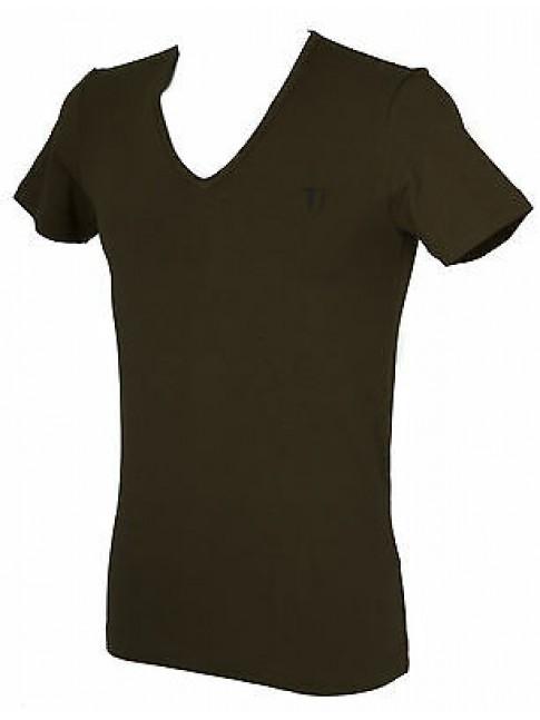 T-shirt maglietta V uomo TRUSSARDI JEANS art. TR000W taglia S colore 231 FELCE
