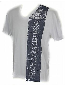 T-shirt maglietta V uomo TRUSSARDI JEANS art. TR0038 taglia L col. 010F BIANCO