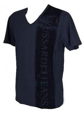 T-shirt maglietta V uomo TRUSSARDI JEANS art. TR0038 taglia L col. 637F BALTICO