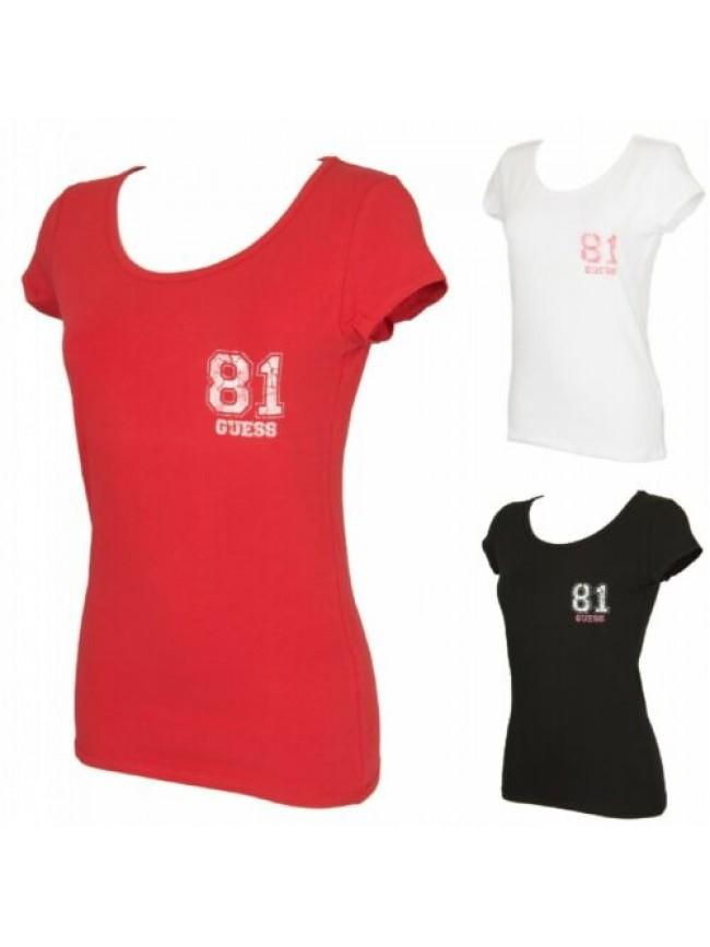 T-shirt maglietta donna manica corta girocollo cotone strech GUESS articolo UE3O