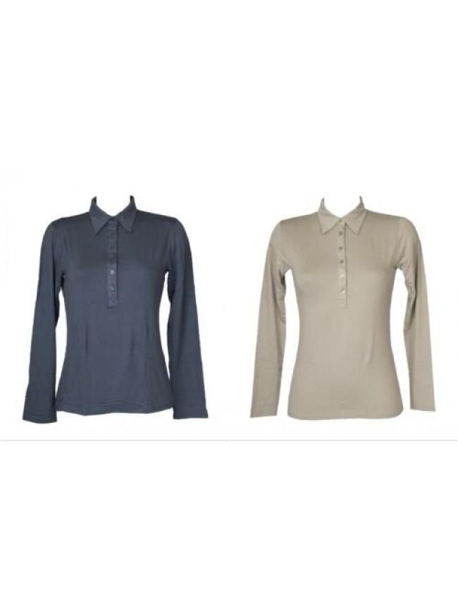 T-shirt maglietta donna manica lunga maglia polo con bottoni viscosa RAGNO artic