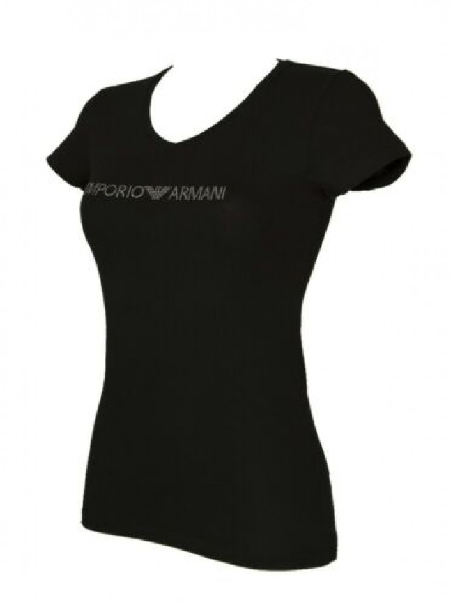 T-shirt maglietta donna scollo V manica corta cotone EMPORIO ARMANI articolo 163
