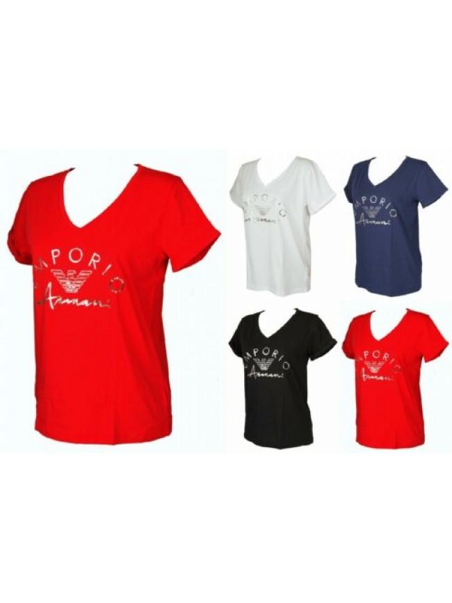 T-shirt maglietta donna scollo V manica corta cotone EMPORIO ARMANI articolo 164