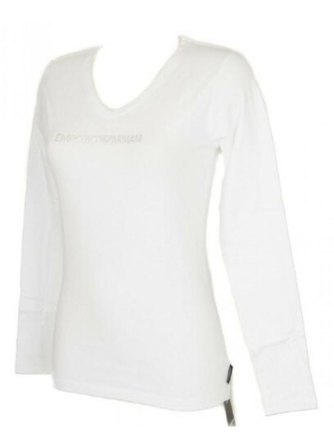 T-shirt maglietta donna scollo V manica lunga EMPORIO ARMANI articolo 163141 3P2