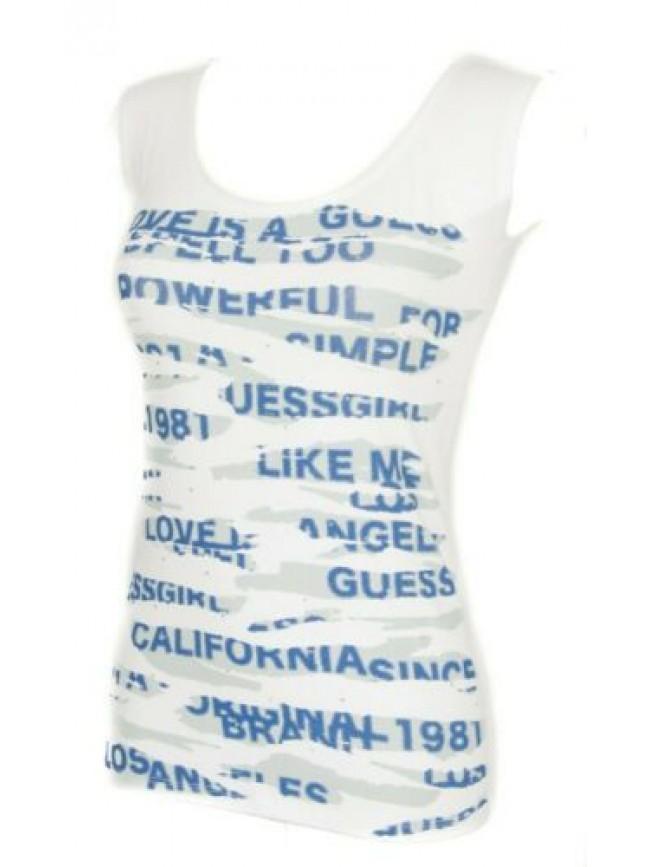 T-shirt maglietta donna senza maniche girocollo cotone stretch GUESS articolo FD