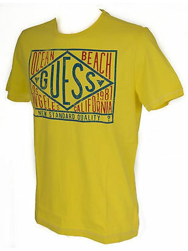 T-shirt maglietta girocollo uomo GUESS a. F62I10 taglia L col. G204 POP YELLOW