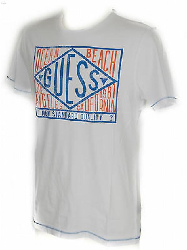 T-shirt maglietta girocollo uomo GUESS a. F62I10 taglia S c. A009 BIANCO WHITE