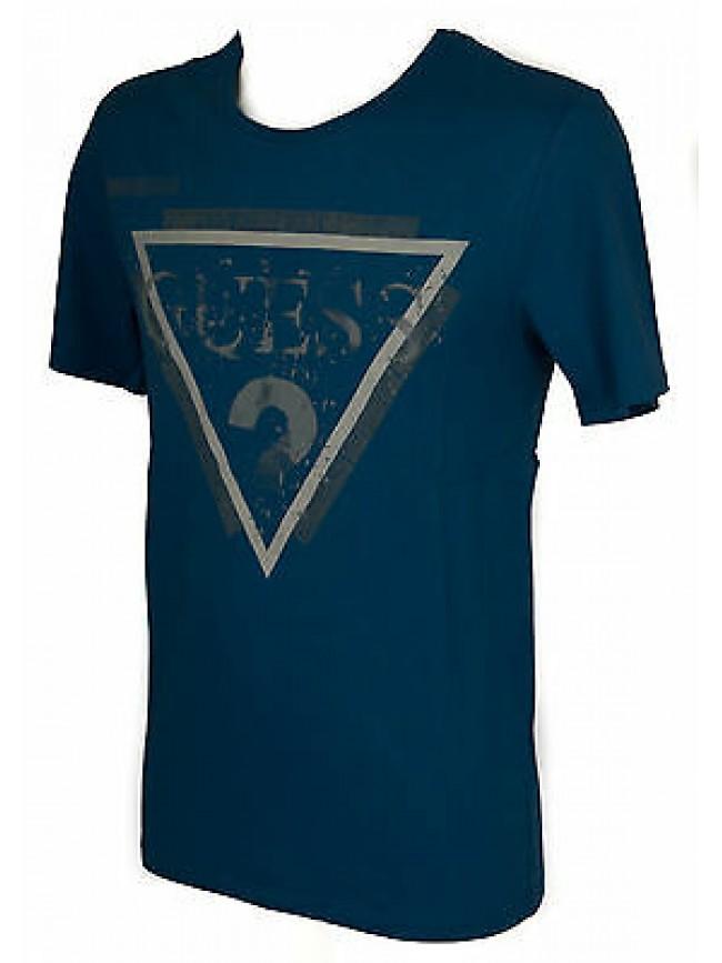 T-shirt maglietta girocollo uomo GUESS a. M54I00 taglia S col. G743 PETROL BLUE